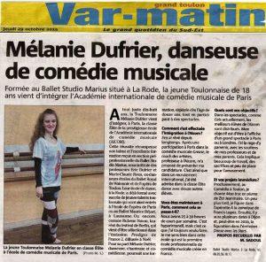 Article sur Mélanié DUFRIER Var-Matin (sept. 2015)