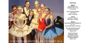 Résultats du concours de danse de Montpellier 2014